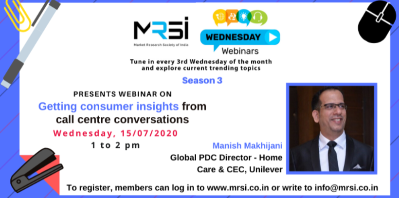 MRSI webinar on Getting consumer insights from call centre conversations on 15th July